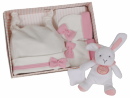 Coffret bonnet + moufles + doudou rose