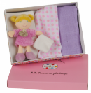 Coffret langes + poup�e rose
